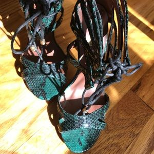 Shoes - Faux snakeskin laceup heels -size 38
